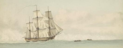 HMS Endeavour off the coast of New Holland, by Samuel Atkins c.1794