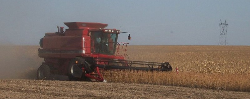 Combine Harvester in Iowa