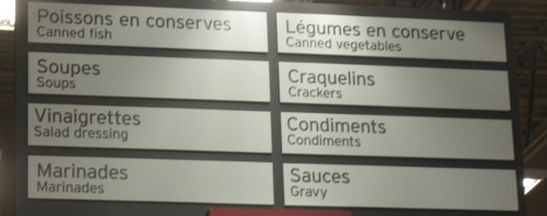 Bilingual Quebec Supermarket sign