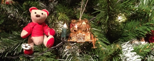 Liverpool Bear plus Apollo 11 Lander on a Christmas tree