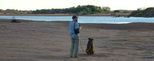 Longworth72 out with dog on the Gascoyne River