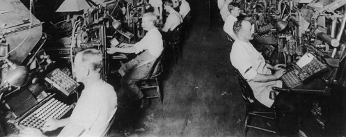 New York Herald composing room, 1902