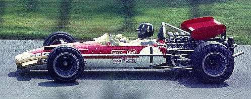 Graham Hill in a Lotus 49 at the Nürburgring